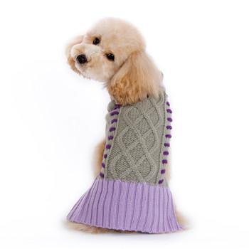 Braided Turtleneck Dog Sweater - Gray/Lavender