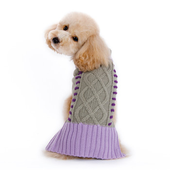 Braided Turtleneck Dog Sweater - Gray/Lavender