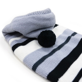 Uneven Stripe Dog Sweater - Black