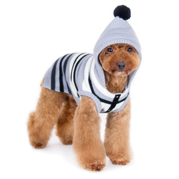 Uneven Stripe Dog Sweater - Black