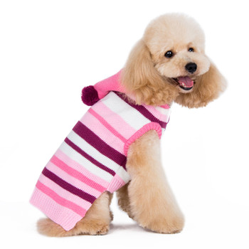 Uneven Stripe Dog Sweater - Pink
