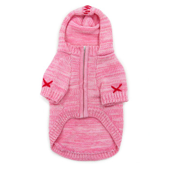 Pink Hoodie Dog Sweater Coat