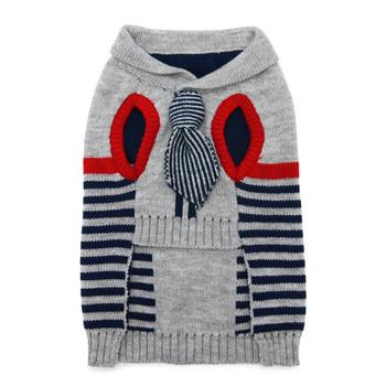 Preppy Necktie Dog Sweater - Blue