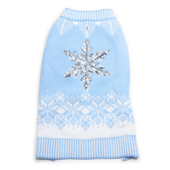 Shiny Snowflake Dog Sweater - Blue