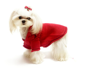 Christmas Bows Hand-Smocked Dog Sweater