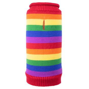 Rainbow Stripe Roll Neck Dog Sweater