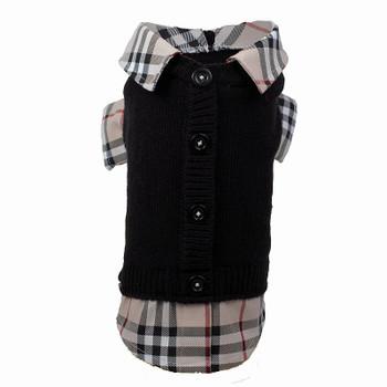 Two-fer Black/Tan Cardigan Dog Sweater