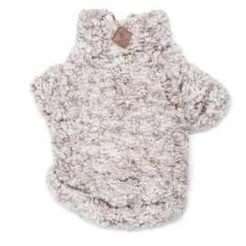 Wubby Fleece 1/4 Zip Pullover Dog Sweater - Ivory