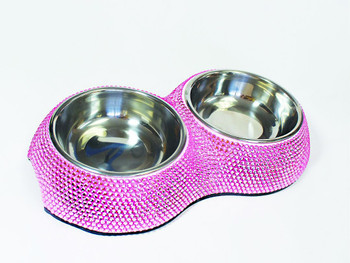 Designer Posh Crystal Dining Dog Bowl - Pink