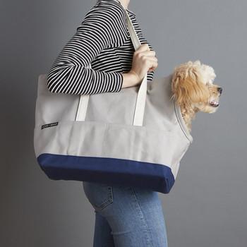 Canvas Pet Dog Tote - Grey & Navy
