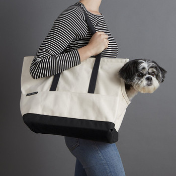 Canvas Pet Dog Tote - Natural & Black