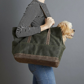 Waxed Canvas Pet Dog Tote - Olive & Oak