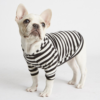 Lightweight Striped Bamboo Knit Fleece Dog Hoodie - Black/White