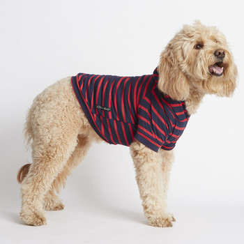 Lightweight Striped Bamboo Knit Fleece Dog Hoodie - Red / Navy