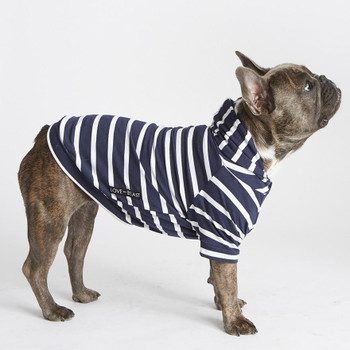 Lightweight Striped Bamboo Knit Fleece Dog Hoodie - Navy / White