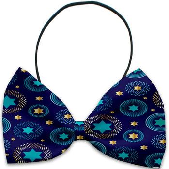 Blue Star of David Pet Dog Bow Tie