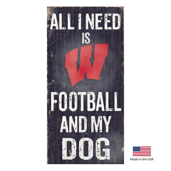 Wisconsin Badgers Distressed Football And My Dog Sign