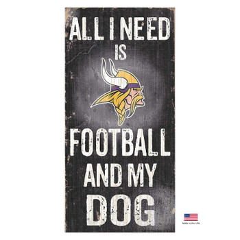 Minnesota Vikings Distressed Football And My Dog Sign