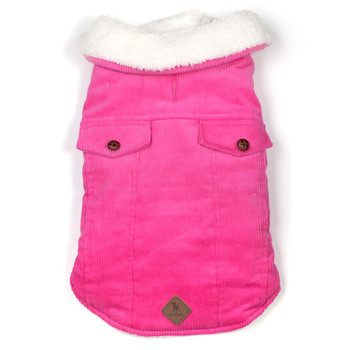 Cambridge Corduroy Pet Dog Puffer Jacket - Pink