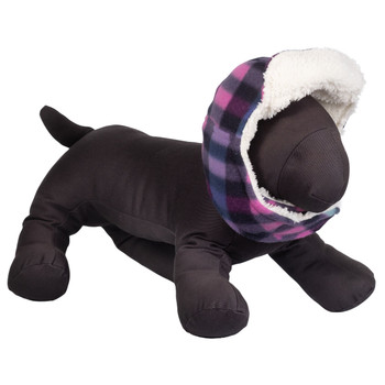 Aviator Dog Hat Purple Plaid Fleece by Worthy Dog