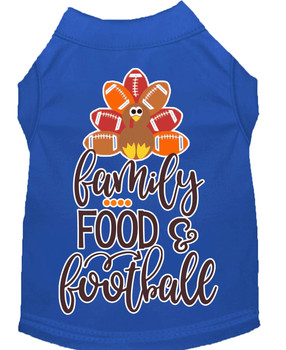 Family, Food, And Football Screen Print Dog Shirt - Blue