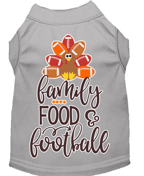 Family, Food, And Football Screen Print Dog Shirt - Grey