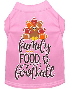 Family, Food, And Football Screen Print Dog Shirt - Light Pink