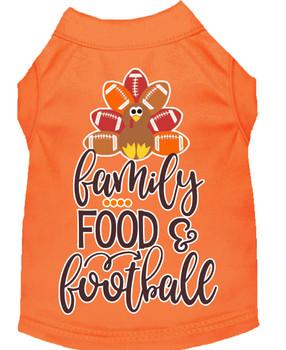 Family, Food, And Football Screen Print Dog Shirt - Orange