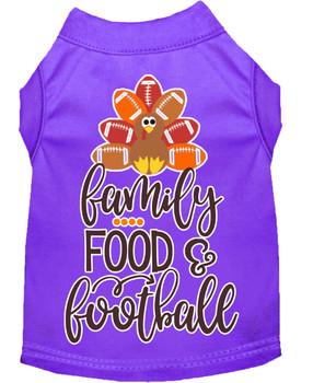Family, Food, And Football Screen Print Dog Shirt - Purple