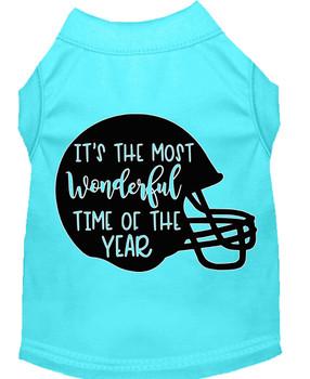 Most Wonderful Time Of The Year (football) Screen Print Dog Shirt - Aqua