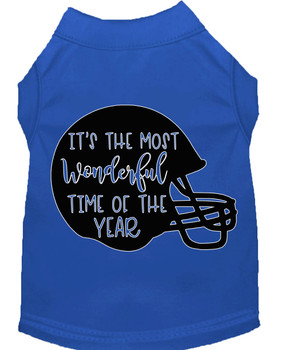 Most Wonderful Time Of The Year (football) Screen Print Dog Shirt - Blue