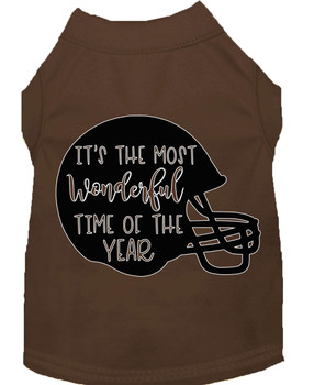 Most Wonderful Time Of The Year (football) Screen Print Dog Shirt - Brown