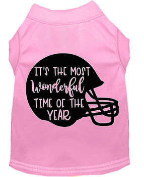 Most Wonderful Time Of The Year (football) Screen Print Dog Shirt - Light Pink