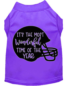 Most Wonderful Time Of The Year (football) Screen Print Dog Shirt - Purple