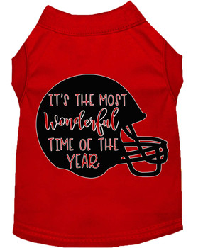 Most Wonderful Time Of The Year (football) Screen Print Dog Shirt - Red