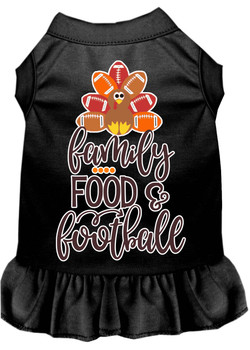 Family, Food, And Football Screen Print Dog Dress - Black