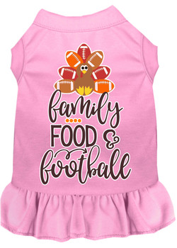 Family, Food, And Football Screen Print Dog Dress - Light Pink