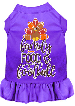 Family, Food, And Football Screen Print Dog Dress - Purple