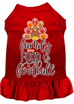 Family, Food, And Football Screen Print Dog Dress - Red