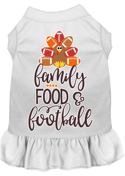 Family, Food, And Football Screen Print Dog Dress - White