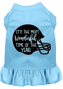 Most Wonderful Time Of The Year (football) Screen Print Dog Dress - Baby Blue