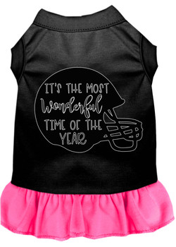Most Wonderful Time Of The Year (football) Screen Print Dog Dress - Black With Bright Pink