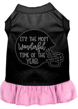 Most Wonderful Time Of The Year (football) Screen Print Dog Dress - Black With Light Pink