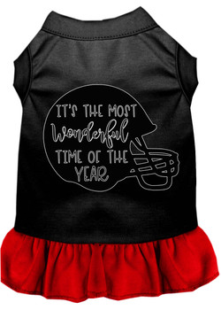 Most Wonderful Time Of The Year (football) Screen Print Dog Dress - Black With Red