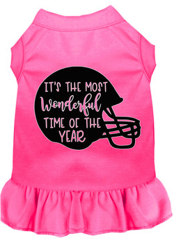 Most Wonderful Time Of The Year (football) Screen Print Dog Dress - Bright Pink