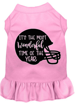 Most Wonderful Time Of The Year (football) Screen Print Dog Dress - Light Pink