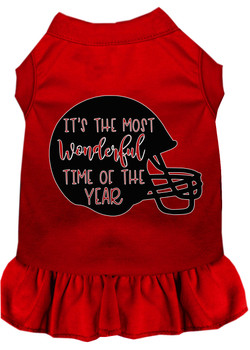 Most Wonderful Time Of The Year (football) Screen Print Dog Dress - Red