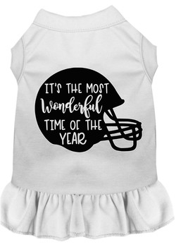 Most Wonderful Time Of The Year (football) Screen Print Dog Dress - White