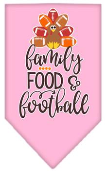 Family, Food, And Football Screen Print Bandana - Light Pink