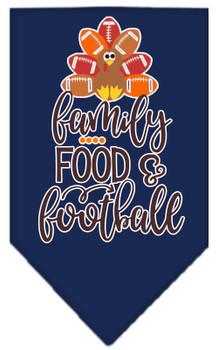 Family, Food, And Football Screen Print Bandana - Navy Blue